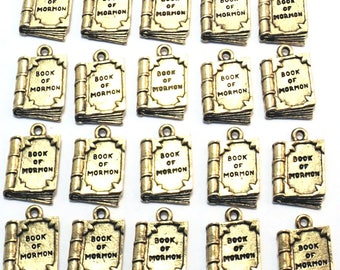 """Twenty (20) Gold Tone Pewter """"Book of Mormon"""" Charms - Free Shipping in the US - 0107"""