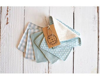 Green square cleansing wipes and economic machine washable and reusable organic cotton, organic blue cloud, dots, gingham and sponge jersey
