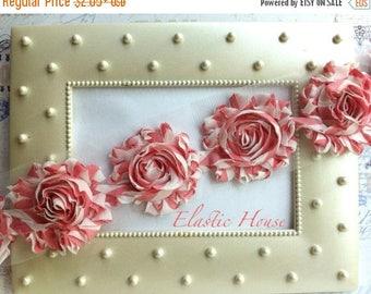 "Summer SALE 10% OFF 2.5"" Shabby Rose Trim- Pink Stripes Printed- Chiffon Trim - Pink Shabby Rose Trim - Printed Shabby Trim - Hair Accessori"
