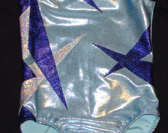 Gymnastics Leotard Girls size 4-5a light blue mystique with Royal blue twinkle and Silver shattered glass applique design