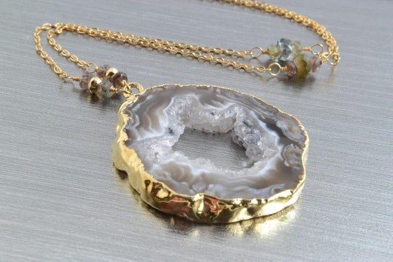Agate Geode Necklace Raw Gemstone Jewelry Druzy Slice