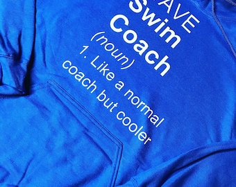 Swim coach hoodie with or without name