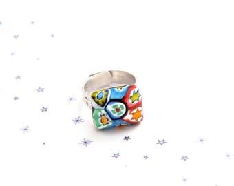 Multicolor millefiori Murano glass cabochon rectangle ring