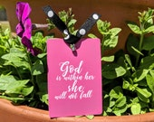 God is within her . She will not fall . Bookmark . Accented with Ribbon and Charm