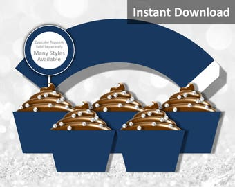 Solid Dark Navy Blue Cupcake Wrapper Instant Download, Party Decorations
