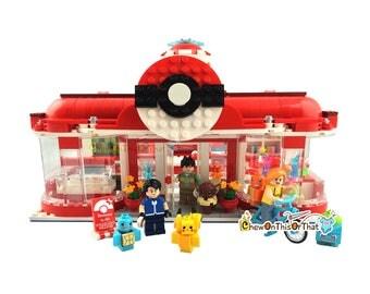 Pokemon Center Custom Lego Set with Pets & Minifigures - Bokomon Generation Pet Elf Center, Decool Series 18001 Toy Block Set, Pokemon Go