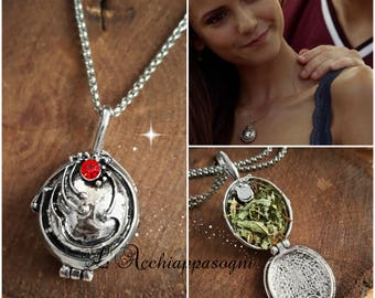 The Vampire Diaries INSPIRED Jewelry - Elena Gilbert New Version Inspired Necklace - REAL VERVAIN - silver plated - season 1 2 3