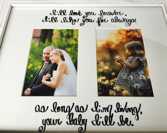 Wedding or Rehearsal Gift for Mom or Dad...I'll Love You Forever I'll Like You for Always...Personalize...11x14 Mat 2 Photo Openings