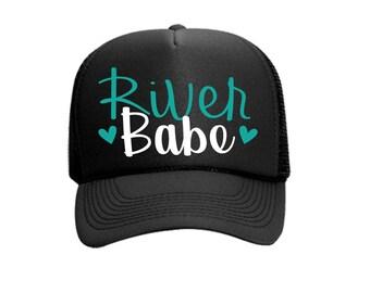 River Babe Custom Vinyl Black Foam Trucker Mesh Back Hat Snapback