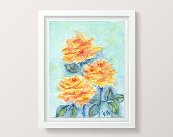 Bright Wall Art Roses Watercolor Floral Painting Roses Gift Mom Nature Painting Flowers Watercolor Wall Art Decor Living Room Impressionist