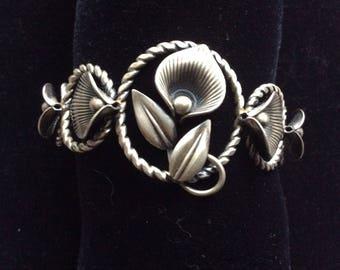 Vintage VAN DELL STERLING Calla Lily Cuff Bracelet