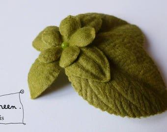 """Brooch """"winter garden"""" green (felt/felt)"""