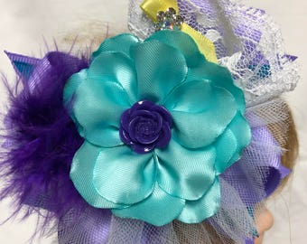 Purple and Turquoise / Robin's egg lace and ribbon with pearl stretch Hairband for baby
