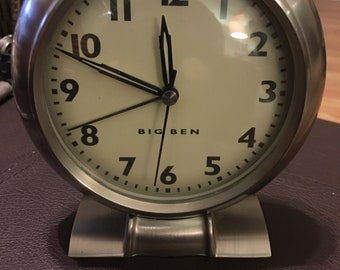 Vintage Chrome Big Ben alarm clock...free shipping !!