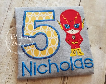 Super Hero Custom embroidered Flash Inspired Birthday Shirt 78a gray