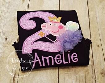 Fairy Princess Peppa Pig Birthday Custom Tee Shirt - Customizable -  Infant to Youth 296a lavender black