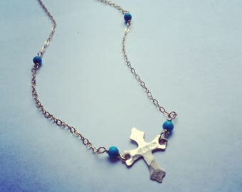 Cross necklace, Armenian cross necklace, gold cross necklace, dainty criss necklace, turquoise and gold necklace, cross