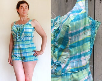 Vintage swimsuit | 1950s 60s Robby Len bathing suit blue plaid with ruffles
