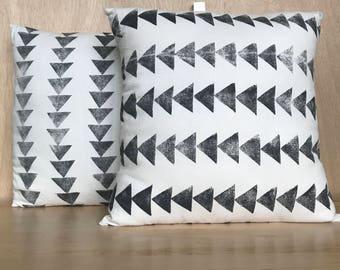 Block Printed Triangles Throw Pillow Set