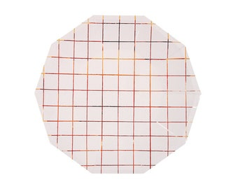 Rose Gold Large Grid Plates - metallic copper paper plates birthday