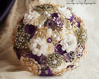 Gold Wedding Bouquet, Brooch Bouquet, Bridal Bouquet, Purple Bouquet, Purple Wedding, Vintage Bouquet, Wedding Jewelry Bouquet Ivory Bouquet