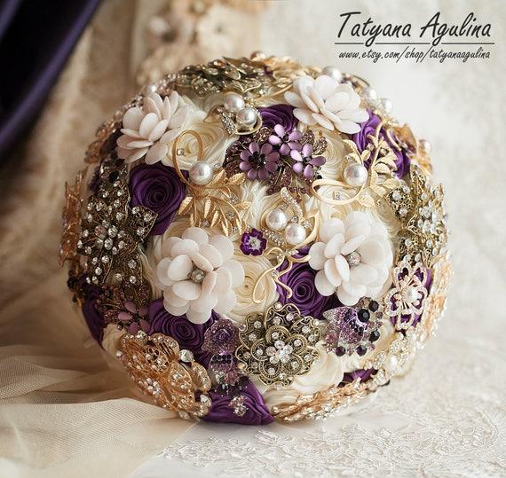 Gold Wedding Bouquet Brooch Bridal Purple