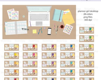 Planner Girl Desktop Icon Digital Clipart in Rainbow Colors - Instant download PNG files