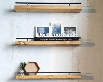 floating shelf black metal safety rail flush mount shelving picture ledge wood