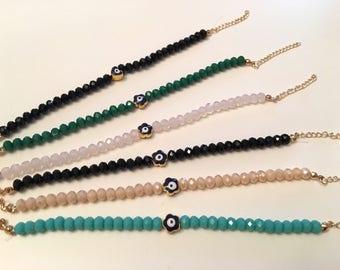 Evil Eye Crystal Bracelets, Heart Evil Eye, Daisy Evil Eye Bracelet, Good Luck Bracelet, Evil Eye Jewelry, Gift For Her, chip Gifts,