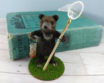 Bear Needle Felted Ornament Fishing Baby Brown Cub with jar of Minnows and Net Art Doll