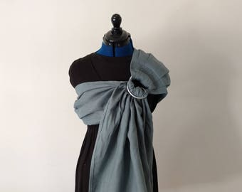 Stormy Grey Linen Ring Sling Baby Carrier