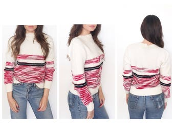 Vintage ivory white chunky sweater / pullover  sweater / space dye stripe sweater /