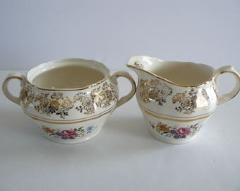 Cream and Sugar Alfred Meakin Golden Posy  22 K Gold, Floral and Gold