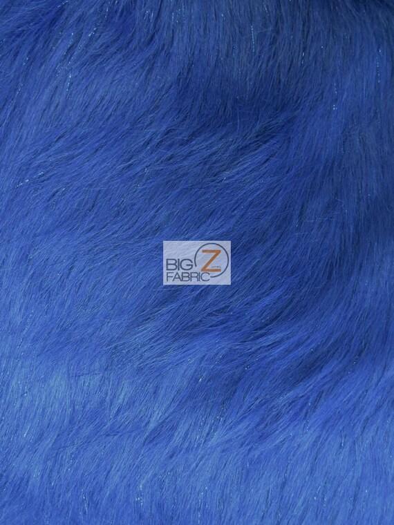 Faux fake fur solid shiny tinsel long pile fabric royal