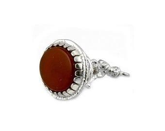 Sterling Silver & Cornelian Pixie Seal Fob Charm For Bracelets