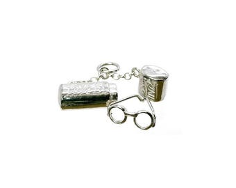 "Sterling Silver Opening ""Love Is Blind"" Spectacle Case Charm For Bracelets"