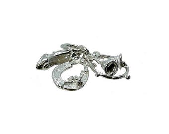 Sterling Silver Three Piece Wedding Charm For Bracelets