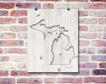 Michigan Faux Carved White Wood Digital Print | Digital Prints | PNG Digital Art | You Print At Home Digital Download Art | Wall Hangings