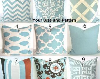 BLUE PILLOWS Blue Throw Pillow Cover Spa Blue Pillow Covers  Blue Pillows .All Sizes. 16x16 18x18 20x20 Home Living