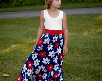 Ready to Ship Girls Maxi Ready to Ship Patriotic Maxi Dress Ready to Ship Red White and Blue Maxi Size 7 or 8