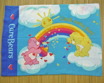 Vintage 80s Care Bears Rainbow Pillowcase