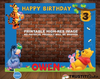 photo booth frame winnie the pooh photobooth prop pikachu printable - Winnie The Pooh Picture Frame