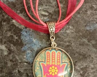 Hamsa Hand Pendant on Hot Pink Organza Necklace
