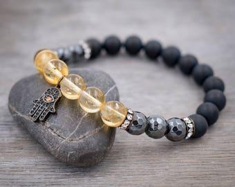 Hamsa hand bracelet Citrine bracelet, Hematite, Black onyx Healing bracelet for women Meditation beads Protection bracelet Evil Eye bracelet