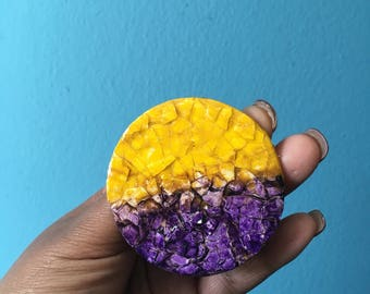 Purple and Gold Mosaic Post Earrings