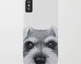 iPhone Case, Schnauzer grijs / wit, origineel schilderij van MiartDesignCreation