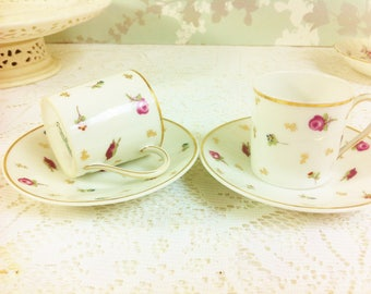 Pair of George Bowyer Coffee Cans and Saucers