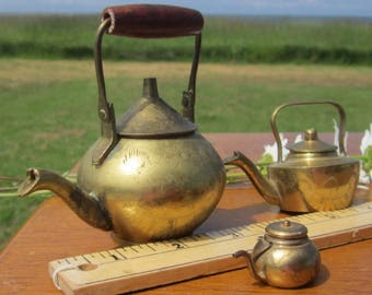 3 Brass Teapots Kettles Miniature Small smaller and smallest - brass dollhouse fairy garden miniature collection
