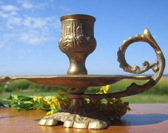 Brass Ornate Candle Holder  Fancy fingertip candle holder with handle