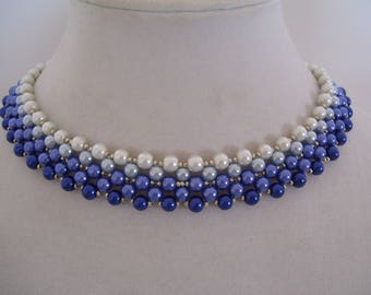 Vintage White to Navy Ombre Pearl Beadwork Bib with Silver Bead Accents